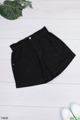 Женские черные шорты с ремнем