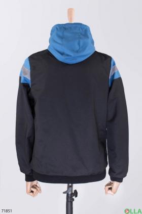 Мужская двухцветная ветровка с капюшоном