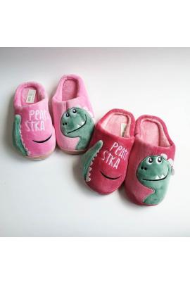 Детские домашние тапочки Дино Светло-розовый