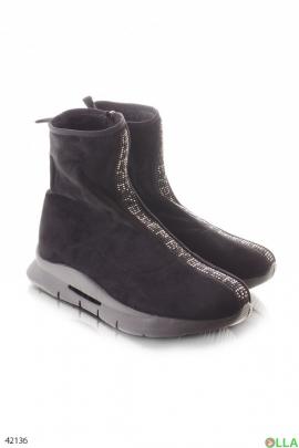Женские ботинки со стразами
