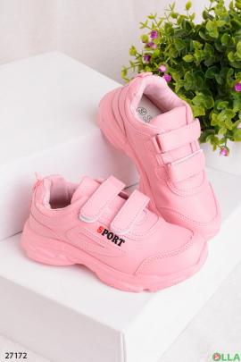 Розовые кроссовки на липучках