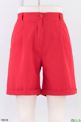 Женские красные трикотажные шорты