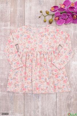 Платье с принтом из цветов для девочки