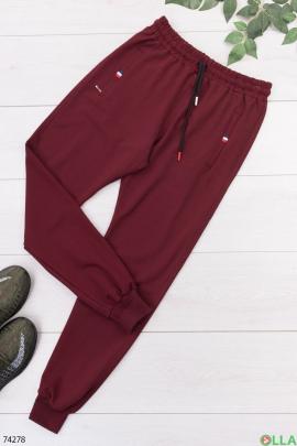 Мужские спортивные бордовые брюки