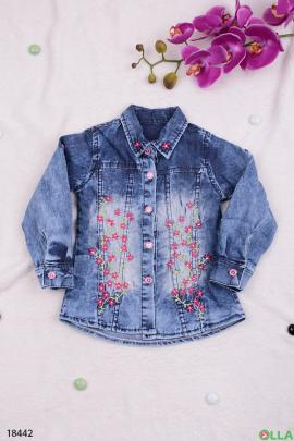 Джинсовая рубашка с цветами