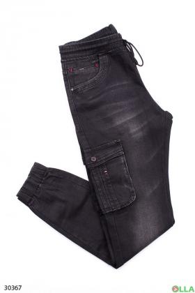Чёрные  джинсы с манжетами на резинке