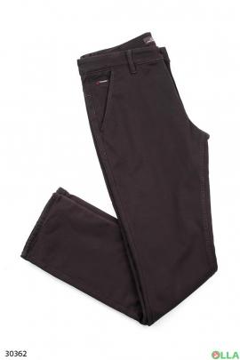 Мужские джинсы коричневого цвета