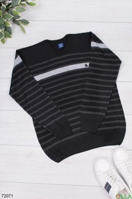 Мужской двухцветный свитер в полоску