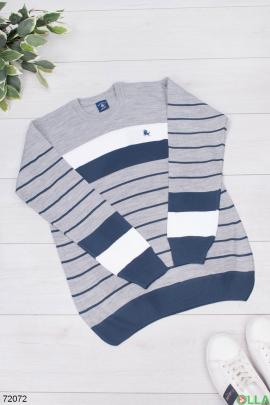 Мужской разноцветный свитер в полоску