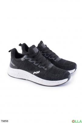 Мужские серо-черные кроссовки на шнуровке