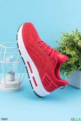 Мужские красные кроссовки на шнуровке