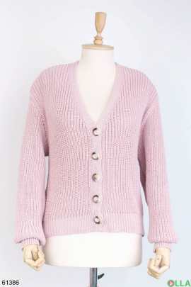 Женская розовая кофта на пуговицах