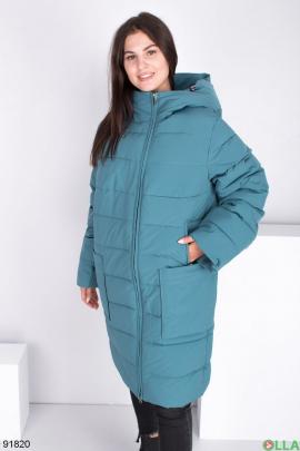 Женская зимняя бирюзовая куртка