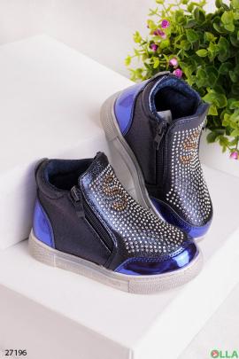 Синие ботинки со стразами