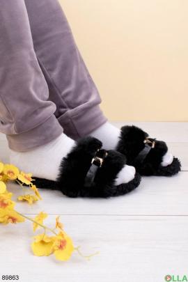 Женские черные комнатные тапочки