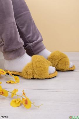 Женские желтые комнатные тапочки