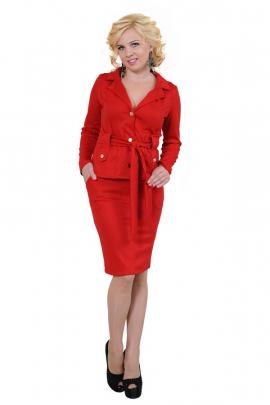 Женский красный юбочный костюм