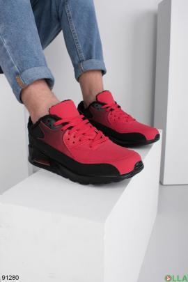 Мужские зимние черно-красные кроссовки на шнуровке