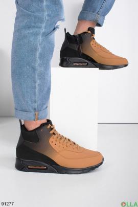Мужские зимние черно-бежевые кроссовки