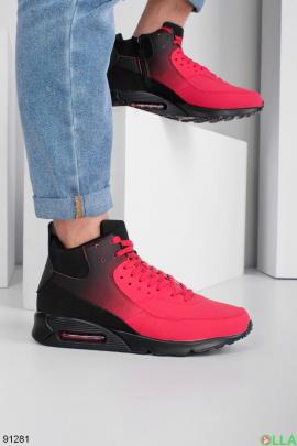 Мужские зимние черно-красные кроссовки