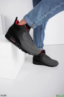 Мужские зимние черно-серые кроссовки