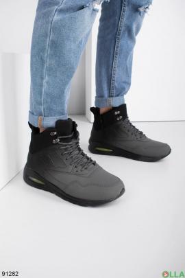 Мужские зимние темно-серые кроссовки
