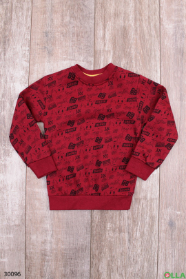 Бордовый свитшот с принтом для мальчика