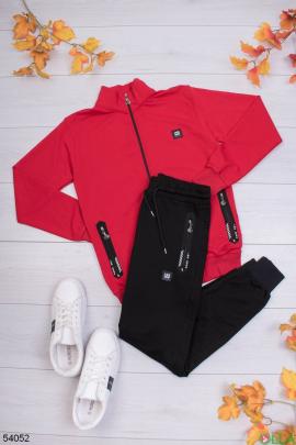 Мужской чёрно-красный спортивный костюм