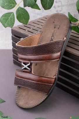 Мужские коричневые джинсовые шлепанцы