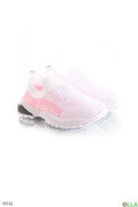 Кроссовки бело-розовые