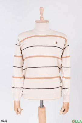 Мужской бежевый свитер в полоску