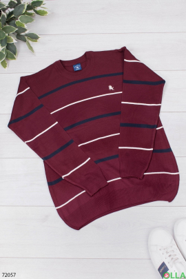 Мужской бордовый свитер в полоску