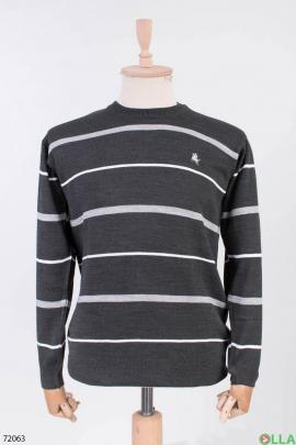 Мужской темно-серый свитер в полоску