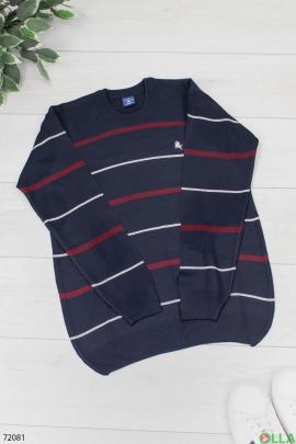 Мужской темно-синий свитер в полоску