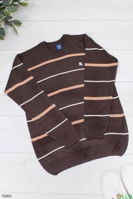 Мужской коричневый свитер в полоску