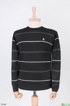 Мужской черный свитер в полоску