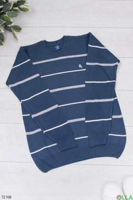 Мужской синий свитер в полоску