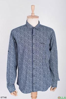 Мужская сине-белая рубашка