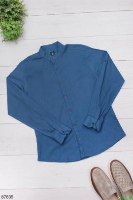 Мужская классическая синяя рубашка