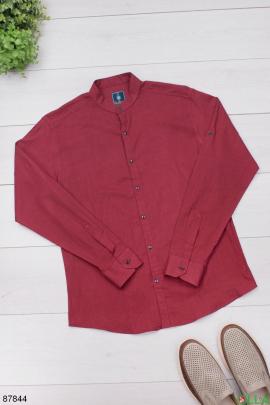 Мужская классическая бордовая рубашка
