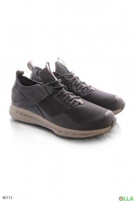Мужские темно-серые кроссовки на шнуровке
