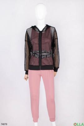 Женский черно-розовый спортивный костюм