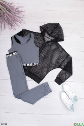 Женский черно-серый спортивный костюм