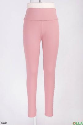 Женские розовые спортивные лосины