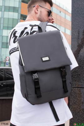 Серый рюкзак из текстиля