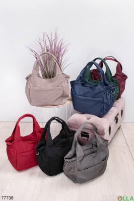 Женская однотонная сумка из текстиля