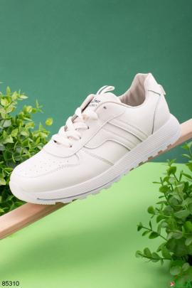 Женские ветло-бежевые кроссовки на шнуровке