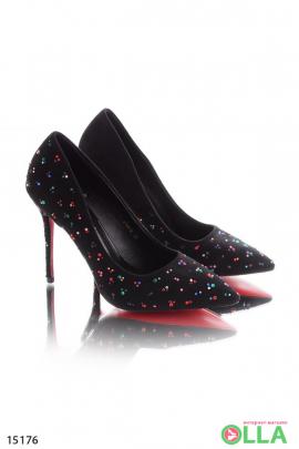 Черные  туфли со стразами