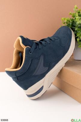 Мужжские темно-синие демисезонные ботинки