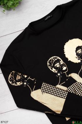 Женский черный свитшот с принтом